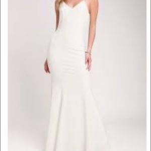 Lulus Taliana White Lace Button Back Maxi Dress